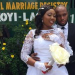Bride stylishly shows off her wedding ring