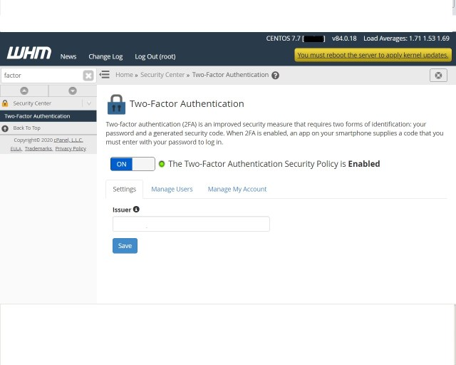 WHM two factor authentication (2FA) for security