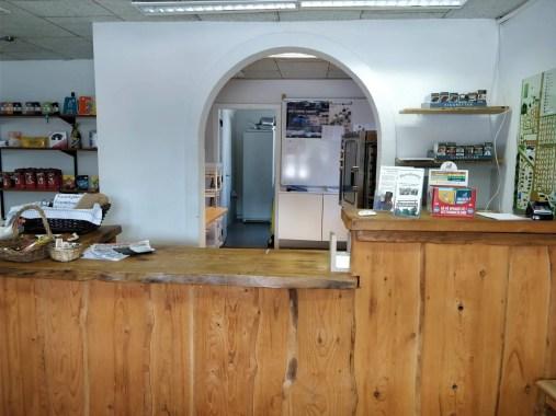 Reception og butik