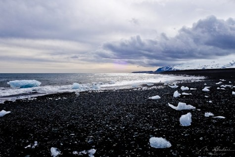 icebergs on volcanic beach Iceland