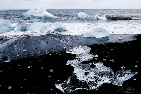 icebergs from the the biggest glacier in Europe on Diamond beach in Iceland