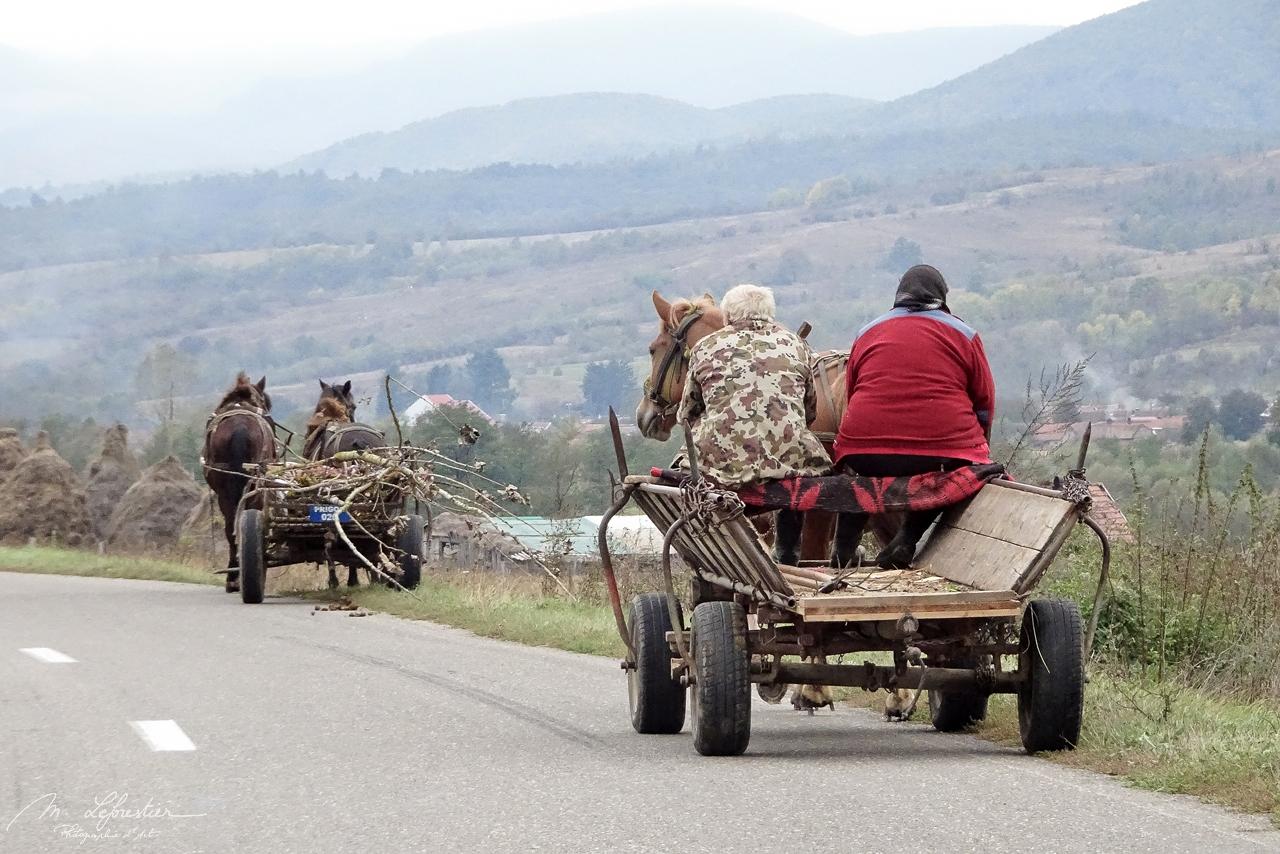 locals on the road in Romania