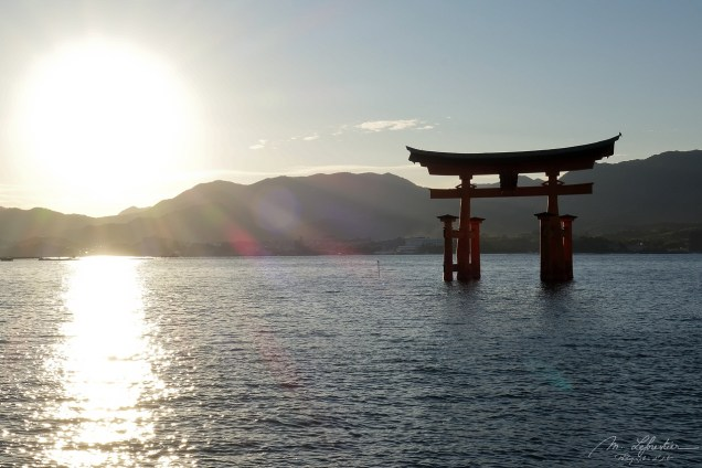 Amazing view Itsukushima shrine Miyajima island Japan torii gate