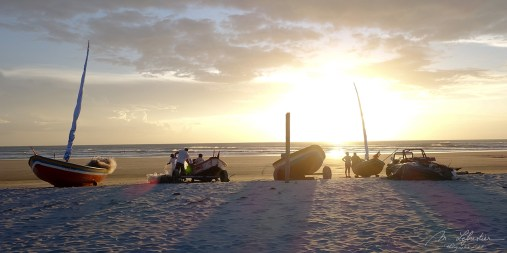 boats during Sunset at Jericoacoara Beach, Brazil