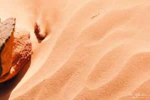 red desert sand at Wadi Rum in Jordan