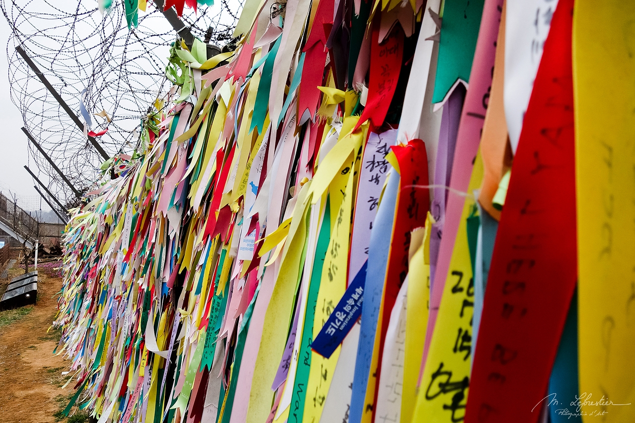 the hope for reunification ribbons in Imjingak in the DMZ