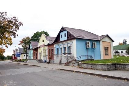 walk in the Mir village with beautiful houses in Belarus