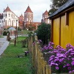 view of the castle from the Mir village Belarus