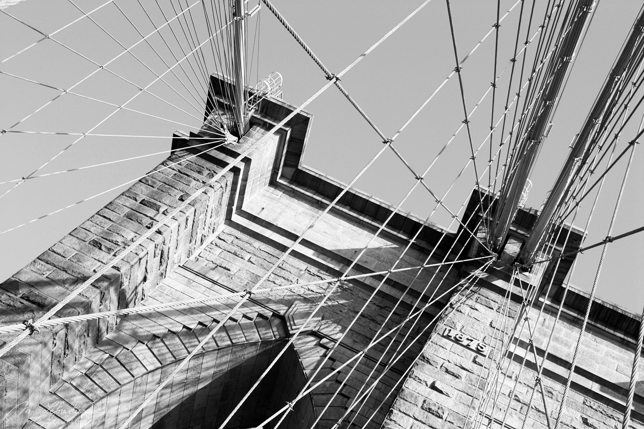brookly bridge close up in black and white in new york city NYC USA