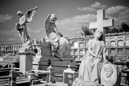 statues in the cemetery of Cienfuegos, on the right is Maria Josefa, the sleeping beauty grave