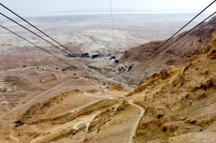 view from the Masada cableway cable car in Israel