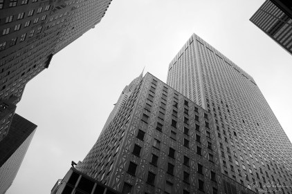 black and white photo of skyscrapers in new york city NYC USA
