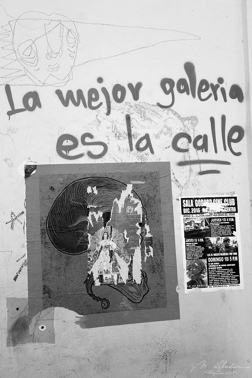 wall tag in the colonial city of Oaxaca in Mexico saying The best gallery is the street