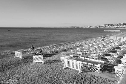 view of the Promenade in Nice, in black and white