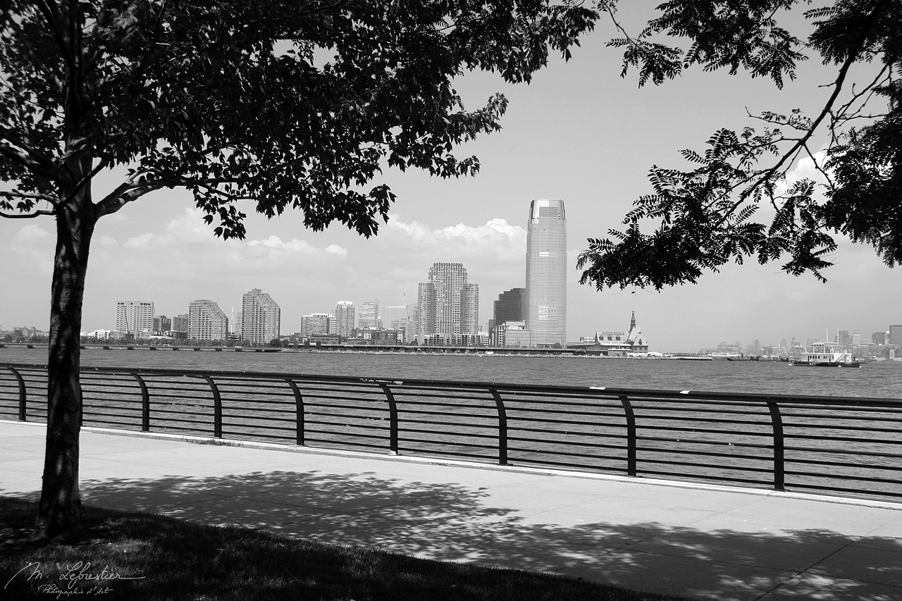 view of new york city NYC USA in black and white