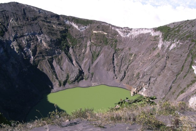 Volcano Poas crater green Costa Rica active