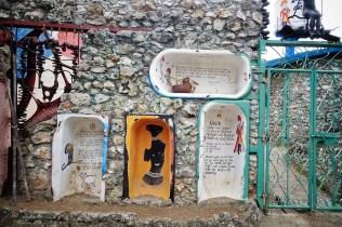 bathtubes in the street art Callejon de Hamel in la Havana Cuba