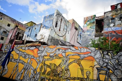 paintings and murals in the area called callejon de hamel street art area in la havana cuba