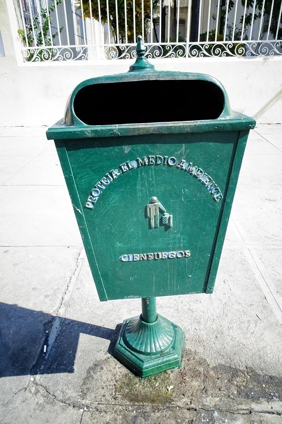 a green street litter bin in Cienfuegos Cuba UNESCO world heritage site