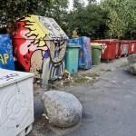 Denmark Copenhagen street litter bins in Christiana