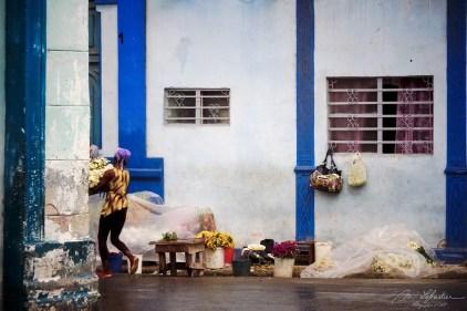 a woman carrying flowers in a street flower shop in la Havana Cuba