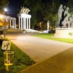 a yellow litter bin by night in Skopje Macedonia