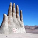 Mano del desierto designed by Chilean sculptor Mario Irarrázabal in the Atacama desert in Chile