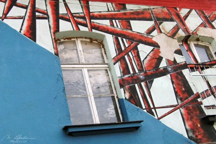 art by windows on a house in the Metelkova district area in Ljubljana Slovenia