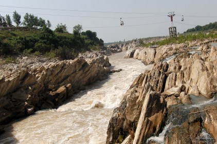 view on the Narmada river, the Marble rocks and the cable cars by Jabalpur in central India