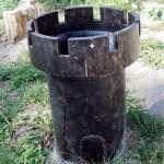 a litter bin in Rasnov Romania in a shape of a castle tower
