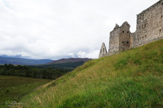 side view on the Ruthven Barracks in Scotland and Scottish nature