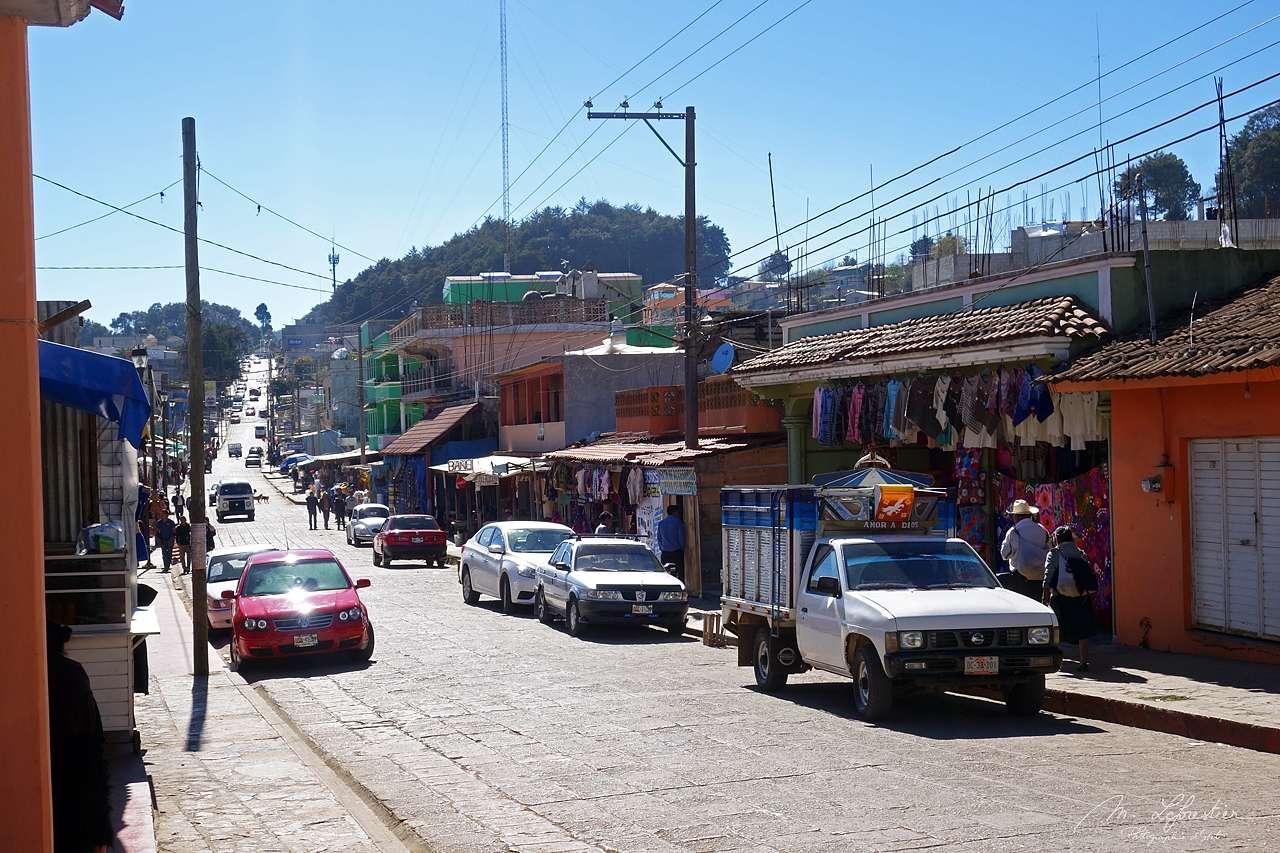 view of the main shopping street of San Juan de Chamula in Chiapas Mexico