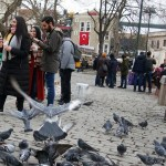 a litter bin on a square in Turkey Istanbul with pigeons flying around people