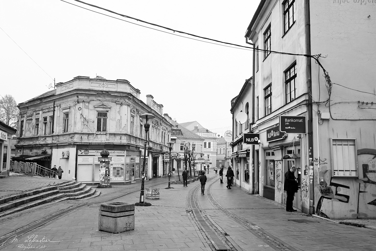 Street view in black and white of Tuzla in Bosnia Herzegovina