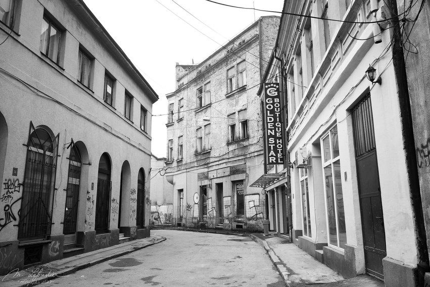 Street photography in black and white of Tuzla Bosnia Herzegovina empty street