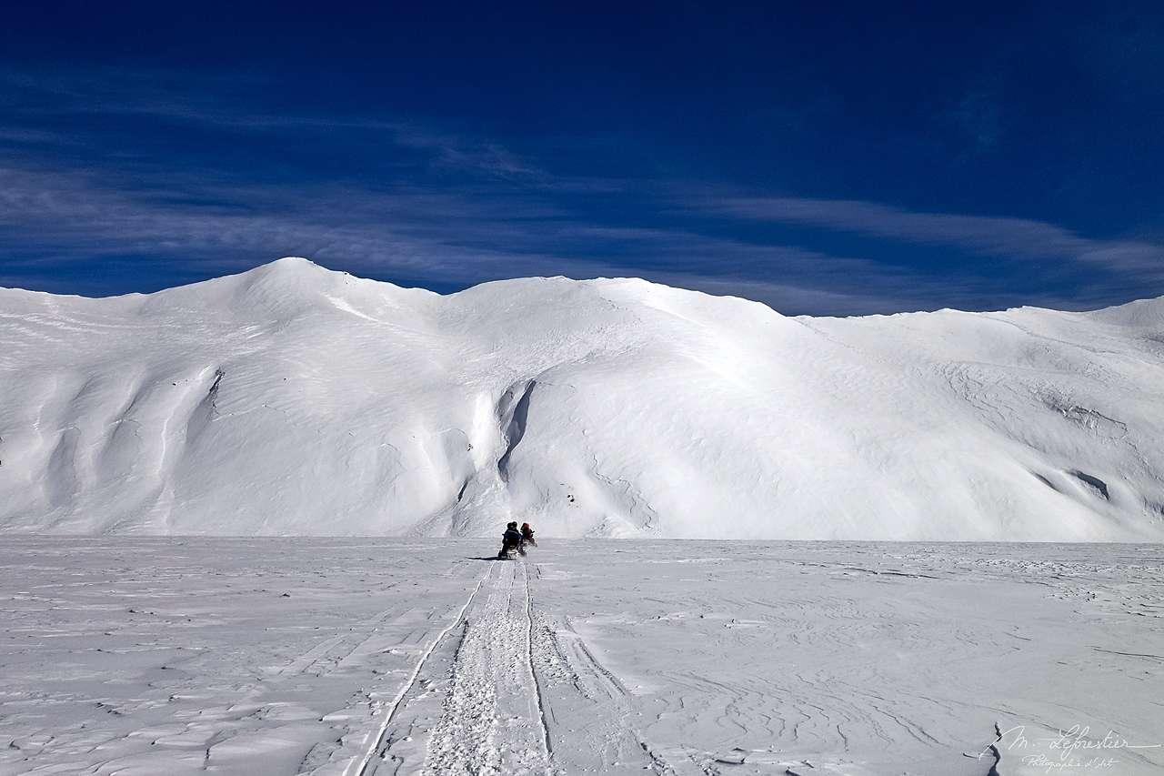 Vatnajokull glacier view during a snow mobile trip in Iceland Europe's biggest glacier
