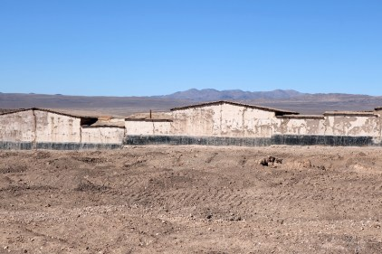 view of the Chacabuco mining town then Pinochet concentration camp from the Road in the Atacama desert in Chile