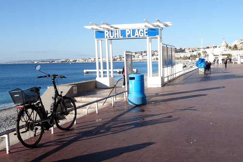 a blue litter bin on the promenade des anglais in Nice France Ruhl plage