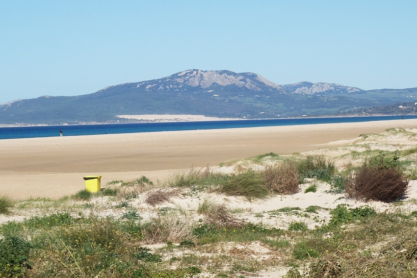 a yellow litter bin in Tarifa Spain