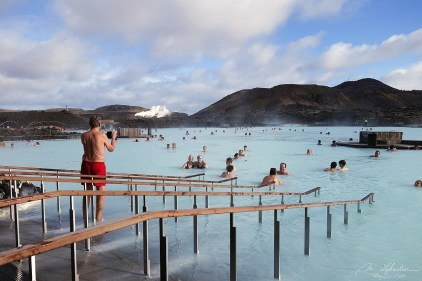 the Blue lagoon in Iceland crowded with people that come in those hot springs