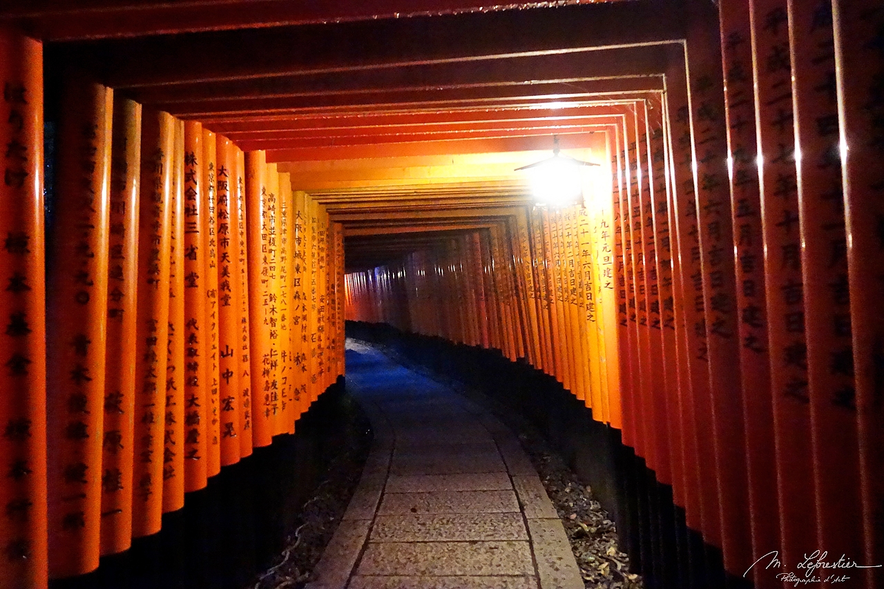 Fushimi Inari Shrine torii gates with their inscriptions at night in Kyoto