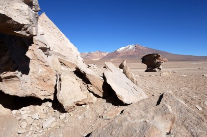 many rock formations at 4500m above sea levels in the Bolivian desert formed by wind erosions throughout million years