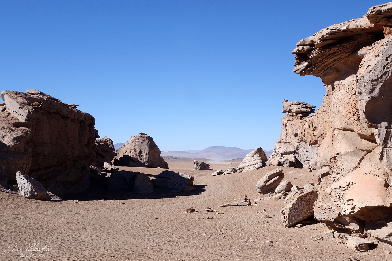 rock formations formed by wind erosions in the desert in Bolivia