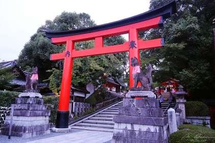 a stand alone torii gate in Fushimi Inari Kyoto