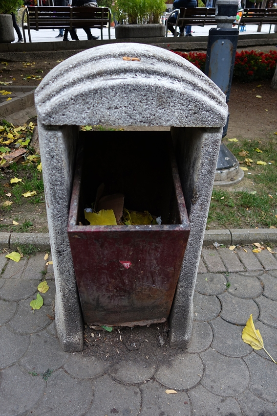 a close up of a litter bin in Pristina in Kosovo newest country in Europe
