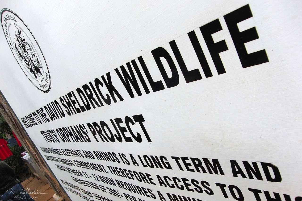 sign at the entrand of David Sheldrick Wildlife Trust in Nairobi orphanage center