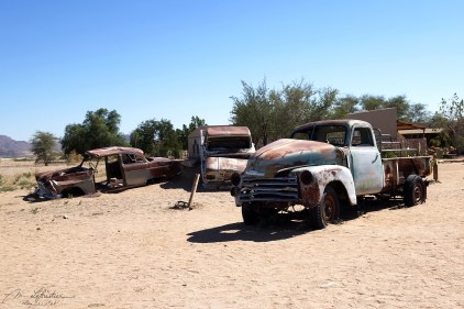 abandoned old cars at Solitaire, the only gas station in the south of the Namibia desert
