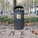 a litter bin in a street in Lisboa Lisbon Portugal