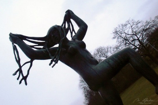 A sculpture representing a dancing young woman by Gustav Vigeland in the Frogner park in Oslo, Norway