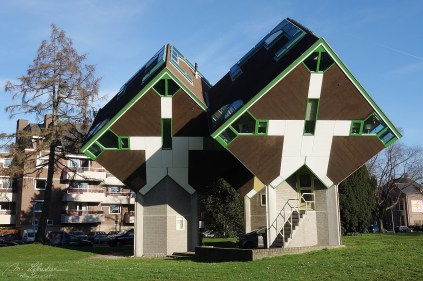 cube houses designed by dutch architect Piet Blom around 1977 before building the ones in Rotterdam